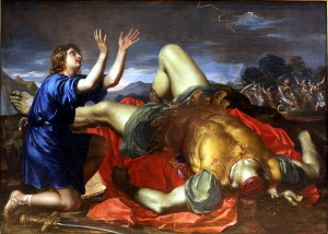 David Thanking God after the Death of Goliath, Museum of Fine Arts of Lyon, France Anonymous Italian Painter, circa 1700-1750, Public Domain