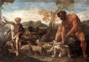 Noradina and Lucina Discovered by the Ogre, Painting by Giovanni Lanfranco, circa 1624, Galleria Borghese, Public Domain.
